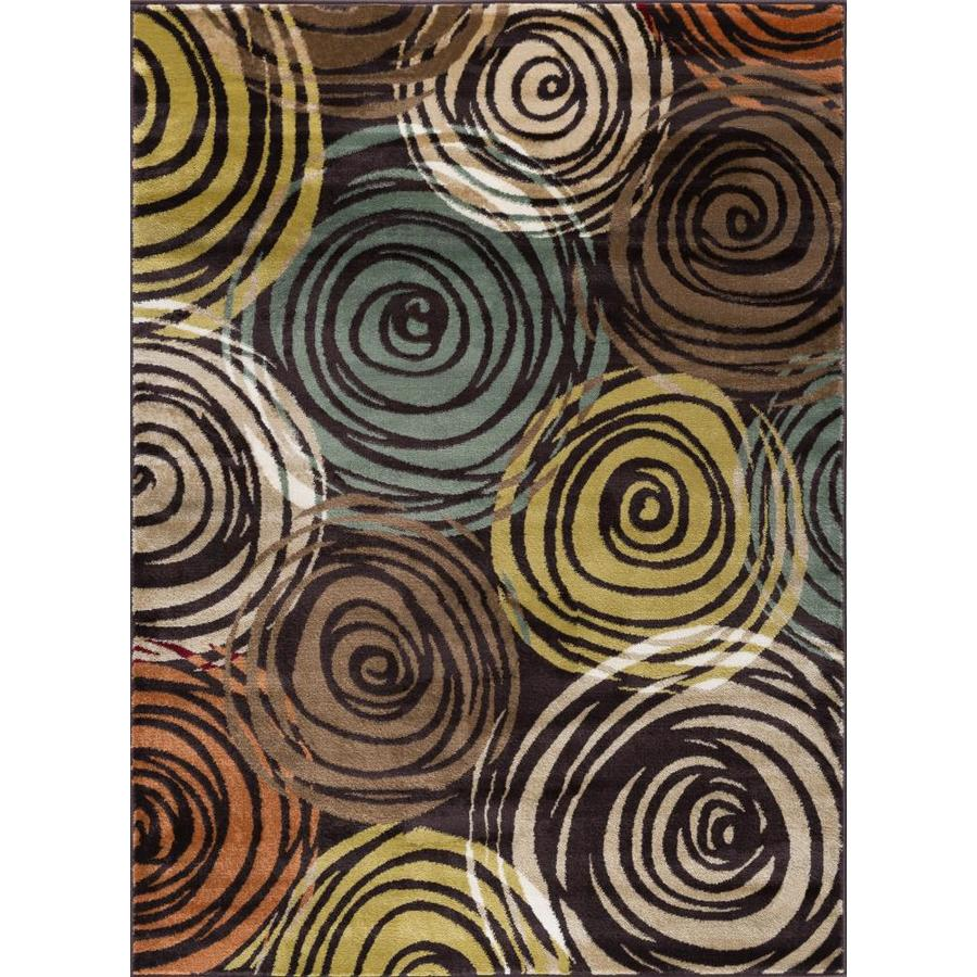 Tayse Deco Brown Rectangular Indoor Machine-made Area Rug (Common: 5 x 7; Actual: 5.25-ft W x 7.25-ft L)