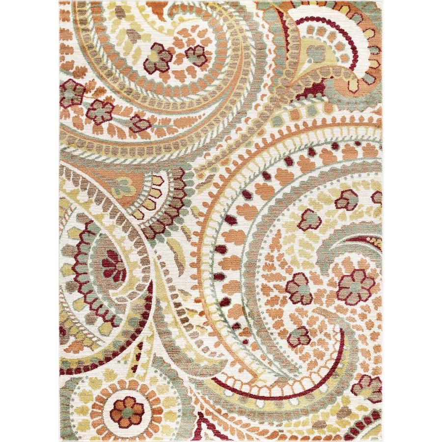 Tayse Deco Ivory Rectangular Indoor Machine-Made Area Rug (Common: 5 x 7; Actual: 5.25-ft W x 7.25-ft L)