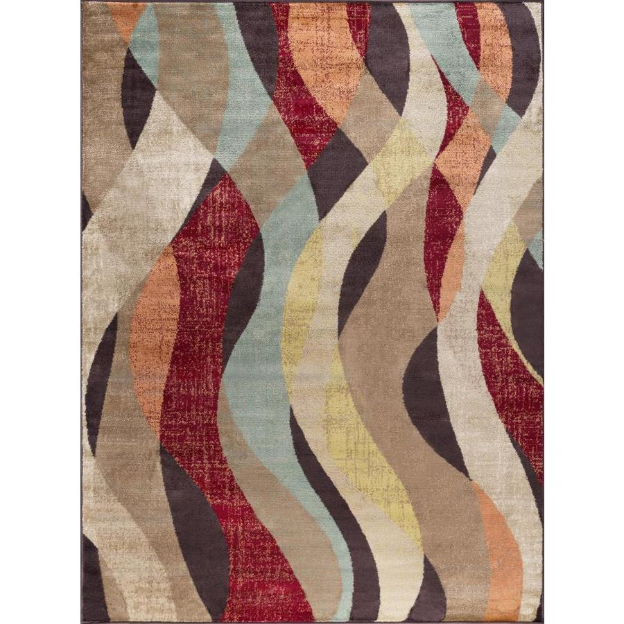Tayse Deco Brown Rectangular Indoor Machine-Made Area Rug (Common: 8 x 10; Actual: 7.8333-ft W x 10.25-ft L)