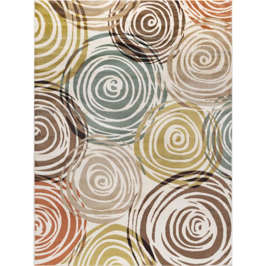 Tayse Deco Ivory Rectangular Indoor Area Rug (Common: 8 x 10; Actual: 7.8333-ft W x 10.25-ft L)