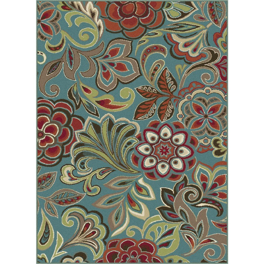 Tayse Deco Sea Foam Rectangular Indoor Machine-Made Area Rug (Common: 5 x 7; Actual: 5.25-ft W x 7.25-ft L)