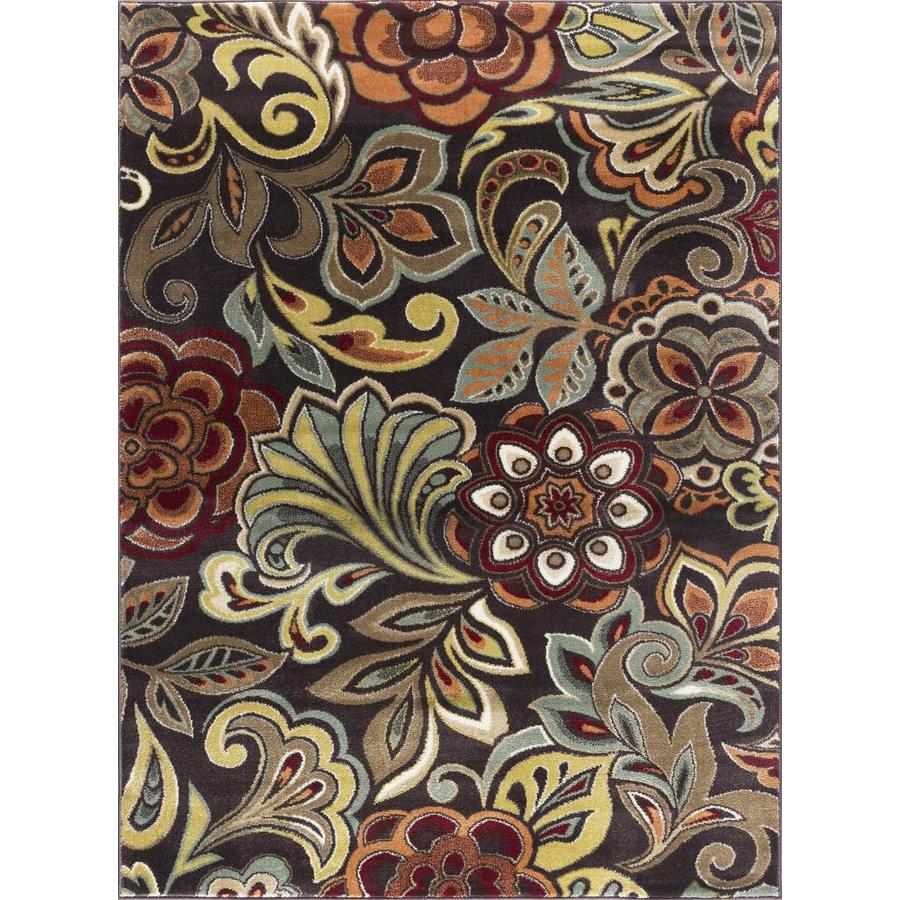 Tayse Deco Brown Rectangular Indoor Area Rug (Common: 8 x 10; Actual: 7.8333-ft W x 10.25-ft L)
