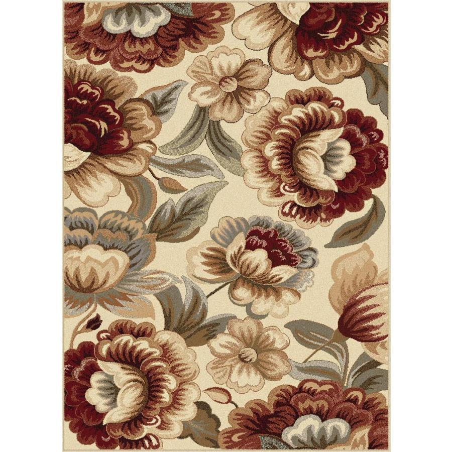 Tayse Impressions Ivory Rectangular Indoor Machine-Made Area Rug (Common: 5 x 7; Actual: 5.25-ft W x 7.25-ft L)