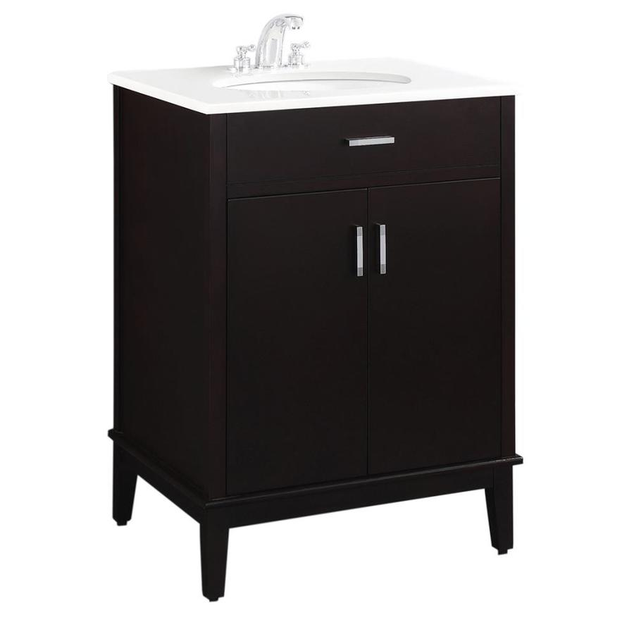 Simpli Home Urban Loft Espresso Undermount Single Sink Bathroom Vanity with Engineered Stone Top (Common: 24-in x 21.5-in; Actual: 25-in x 21.5-in)