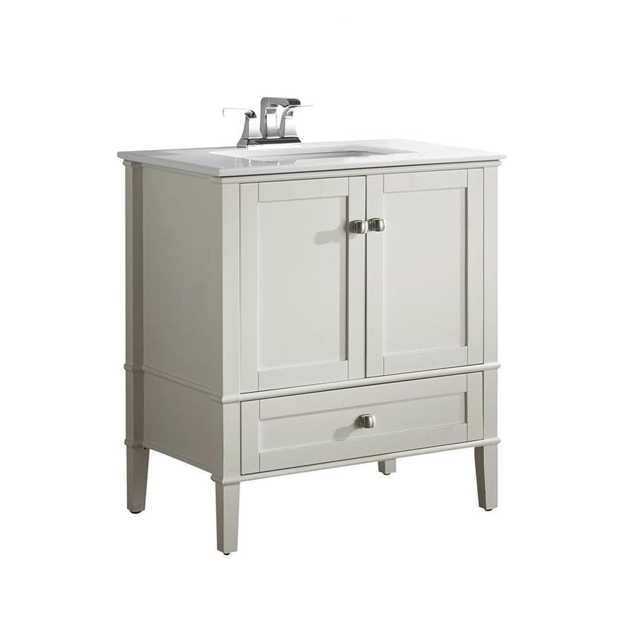Simpli Home Chelsea White 31-in Undermount Single Sink Birch Bathroom Vanity with Engineered Stone Top
