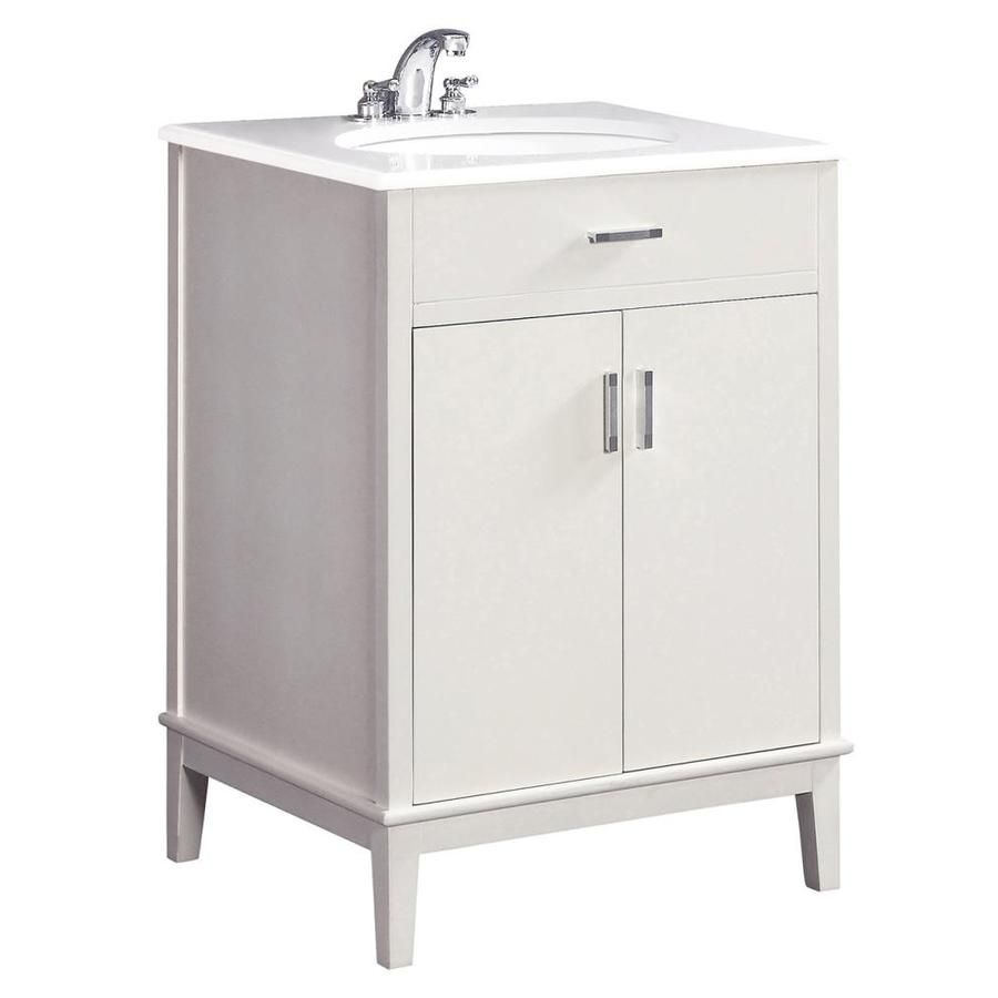 Simpli Home Urban Loft White Undermount Single Sink Bathroom Vanity with Engineered Stone Top (Common: 24-in x 21.5-in; Actual: 25-in x 21.5-in)