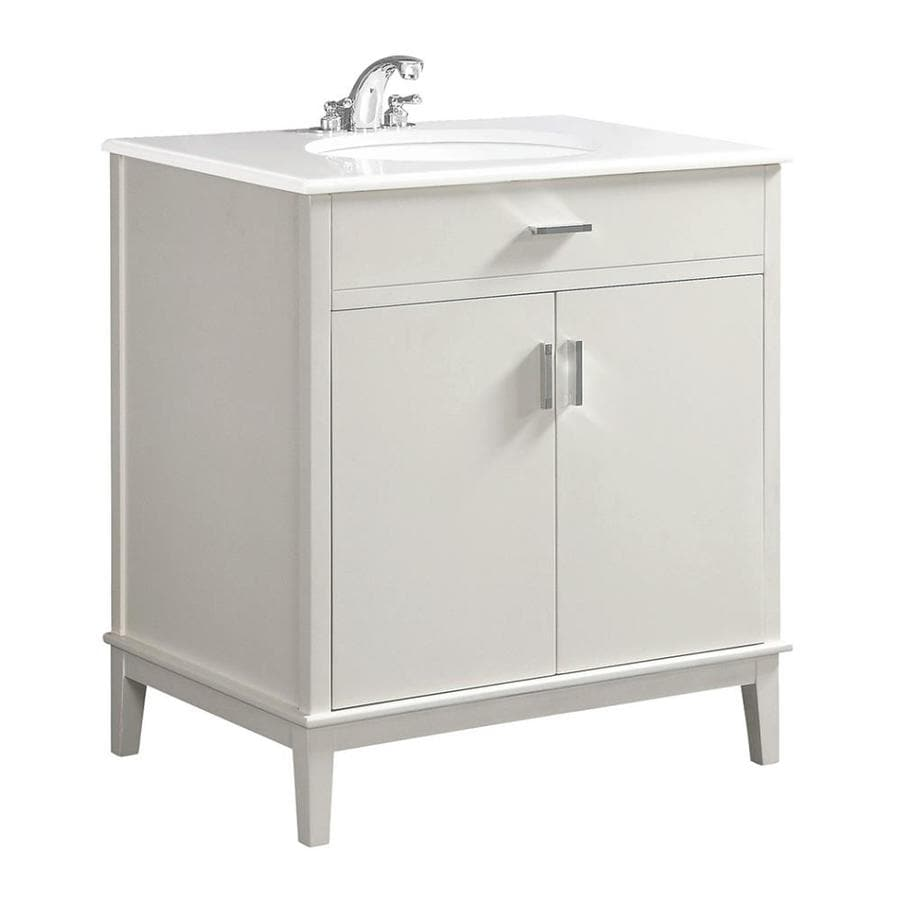 Simpli Home Urban Loft White 31-in Undermount Single Sink Birch Bathroom Vanity with Engineered Stone Top