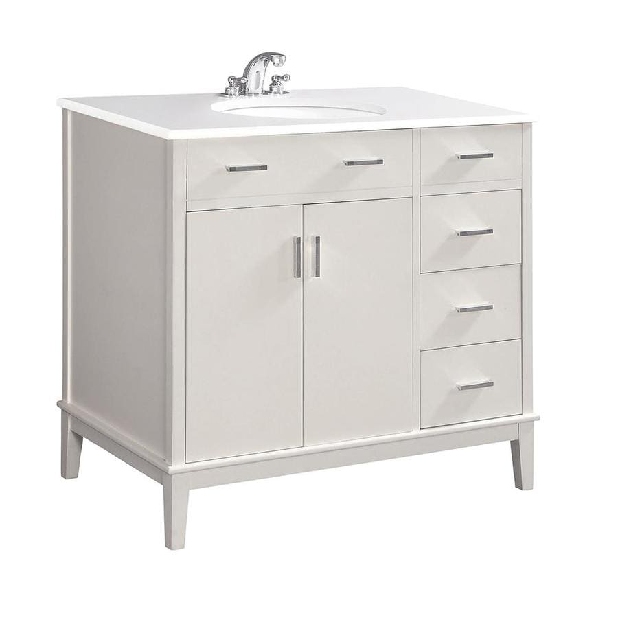 Simpli Home Urban Loft White 37-in Undermount Single Sink Birch Bathroom Vanity with Engineered Stone Top