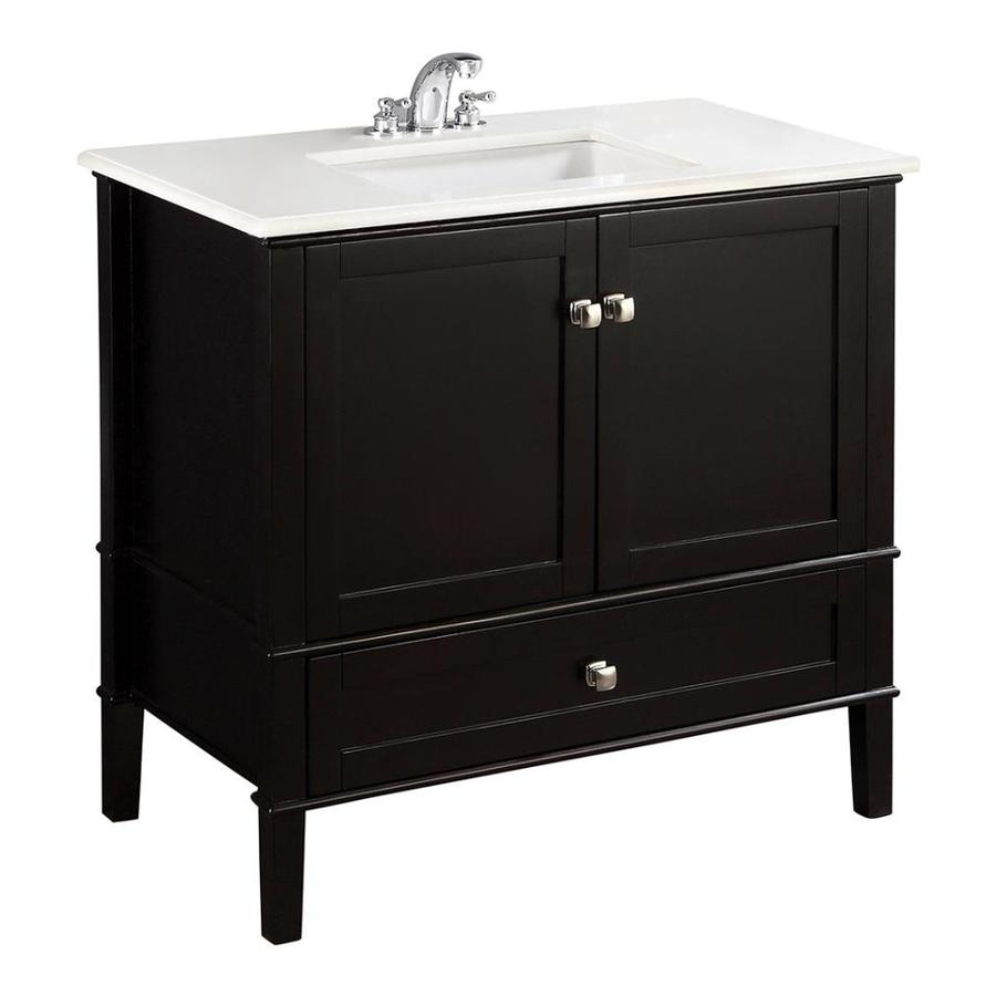 Simpli Home Chelsea Black (Common: 36-in x 21.5-in) Undermount Single Sink Birch Bathroom Vanity with Engineered Stone Top (Actual: 37-in x 21.5-in)