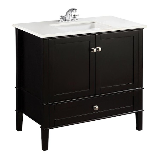 Simpli Home Chelsea Black Undermount Single Sink Bathroom Vanity With Engineered Stone Top Common 36 In X 21 5 In Actual 37 In X 21 5 In In The Bathroom Vanities With Tops Department At Lowes Com