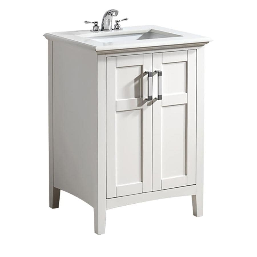 Simpli Home Winston White Undermount Single Sink Bathroom Vanity With  Engineered Stone Top (Common: