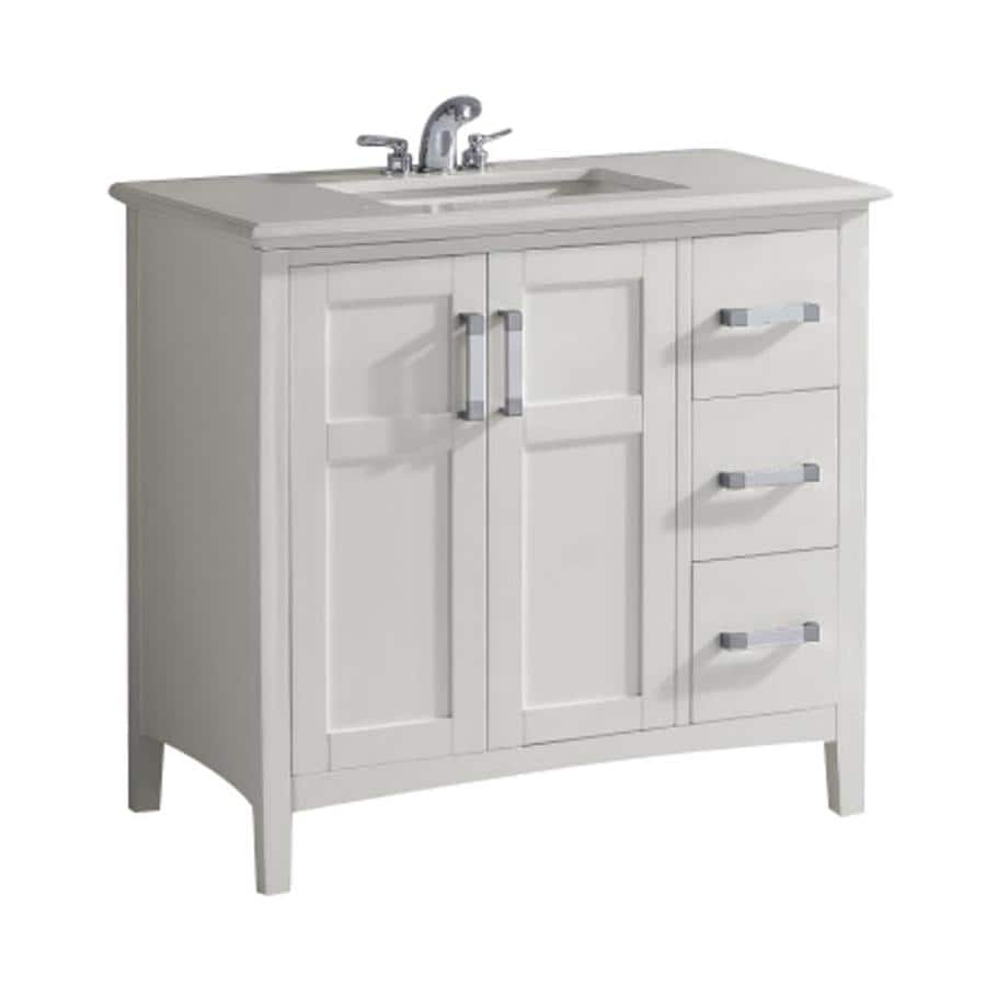 Shop Simpli Home Winston White Undermount Single Sink Bathroom Vanity With Engineered Stone Top