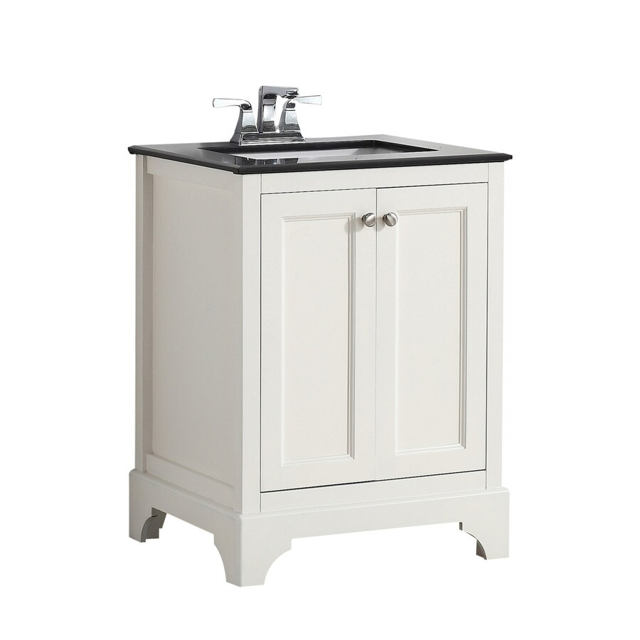 Shop simpli home cambridge soft white undermount single for Granite bathroom vanity