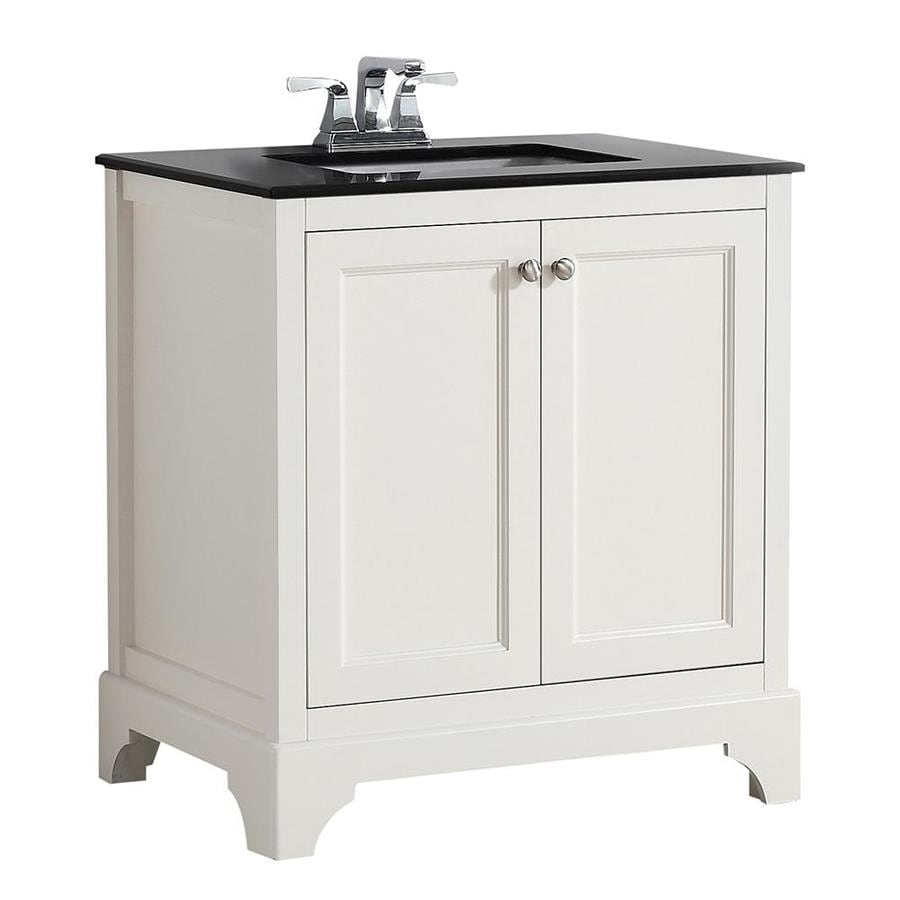 Simpli Home Cambridge Soft White 31-in Undermount Single Sink Birch Bathroom Vanity with Granite Top