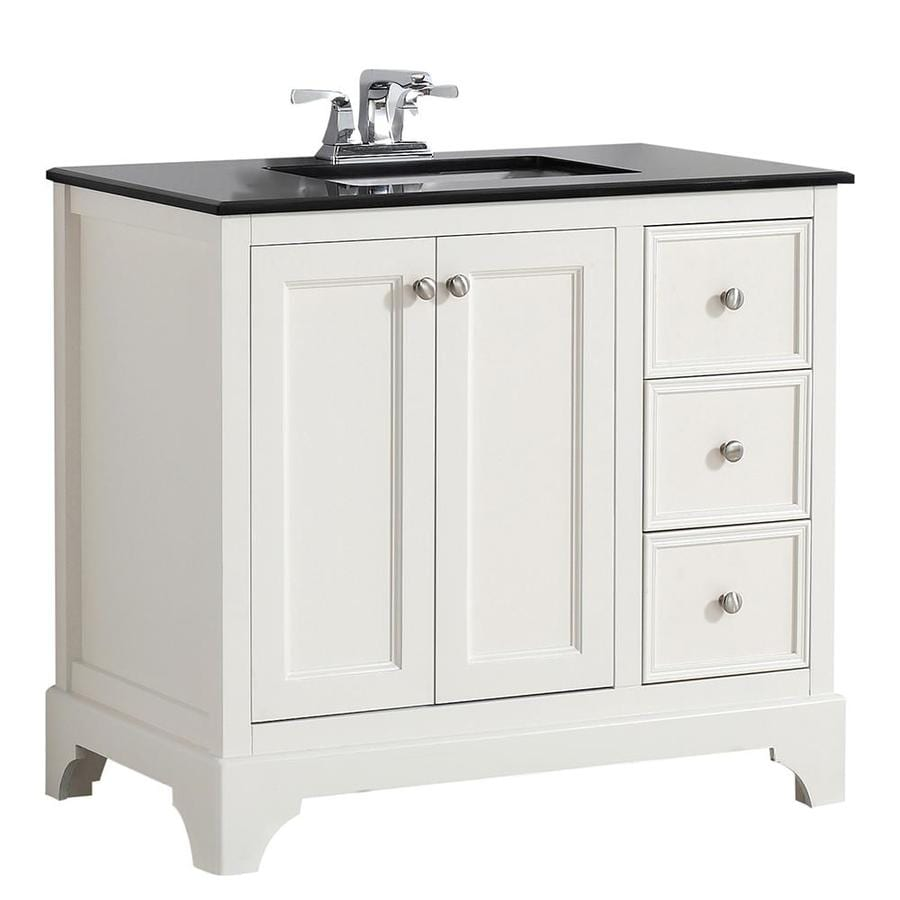 Simpli Home Cambridge Soft White 37-in Undermount Single Sink Birch Bathroom Vanity with Granite Top