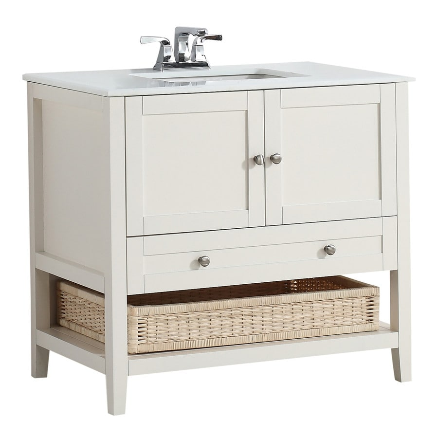 Simpli Home Cape Cod Soft White 37-in Undermount Single Sink Birch Bathroom Vanity with Engineered Stone Top