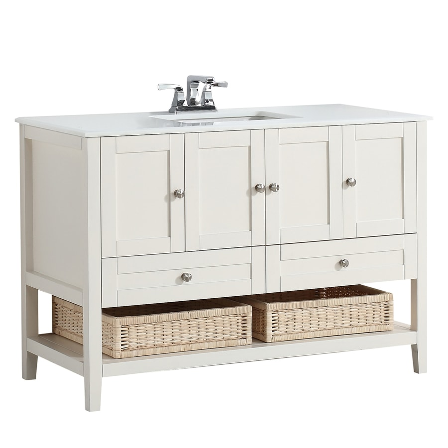 Simpli Home Cape Cod Soft White (Common: 48-in x 21.5-in) Undermount Single Sink Birch Bathroom Vanity with Engineered Stone Top (Actual: 49-in x 21.5-in)
