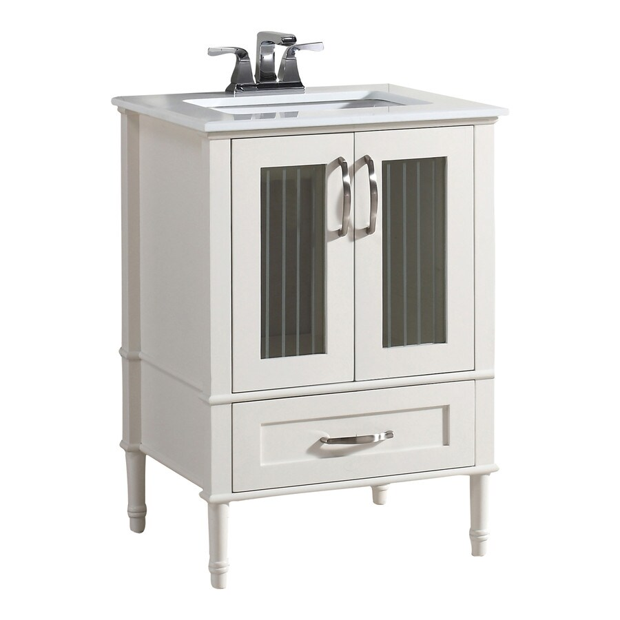 Simpli Home Chelsea Soft White Undermount Single Sink Bathroom Vanity With  Engineered Stone Top (Common