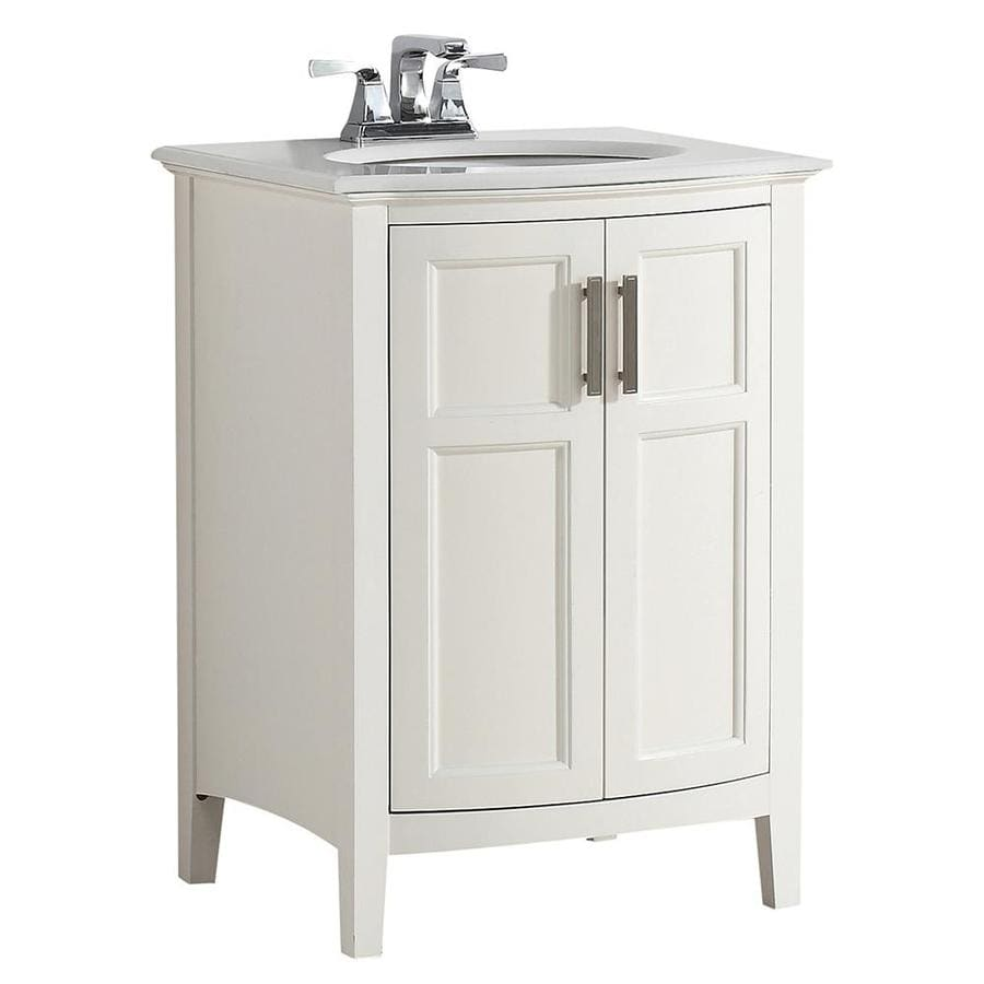 Simpli Home Winston Soft White Undermount Single Sink Bathroom Vanity with Engineered Stone Top (Common: 24-in x 21.5-in; Actual: 25-in x 21.5-in)