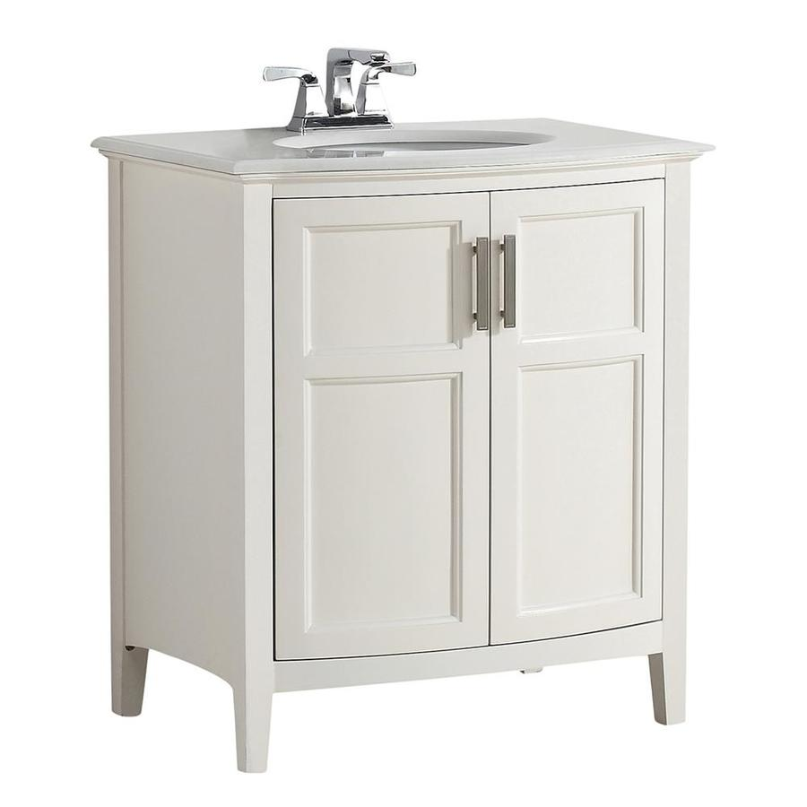 lowes white bathroom vanity shop simpli home winston soft white undermount single sink 19361