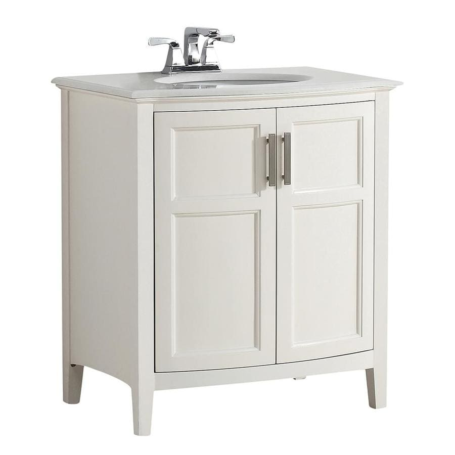 Simpli Home Winston Soft White 31-in Undermount Single Sink Birch Bathroom Vanity with Engineered Stone Top