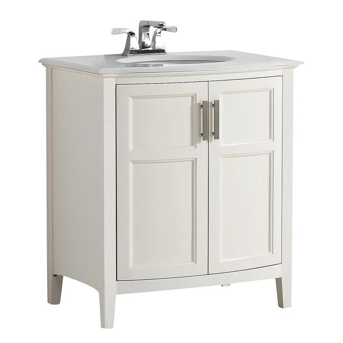 Simpli Home Winston Soft White Undermount Single Sink Bathroom Vanity With Engineered Stone Top Common 30 In X 21 5 In Actual 31 In X 21 5 In In The Bathroom Vanities With Tops Department At Lowes Com