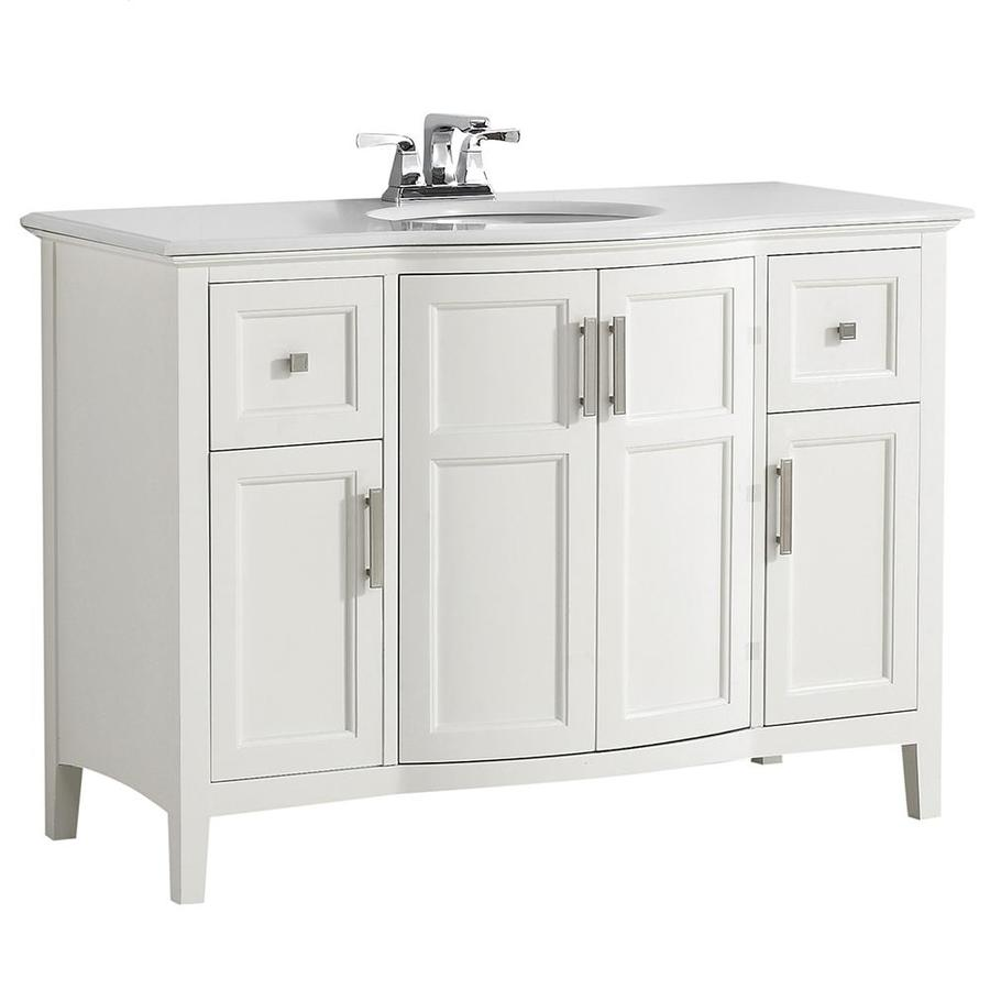 Simpli Home Winston Soft White 49-in Undermount Single Sink Birch Bathroom Vanity with Engineered Stone Top