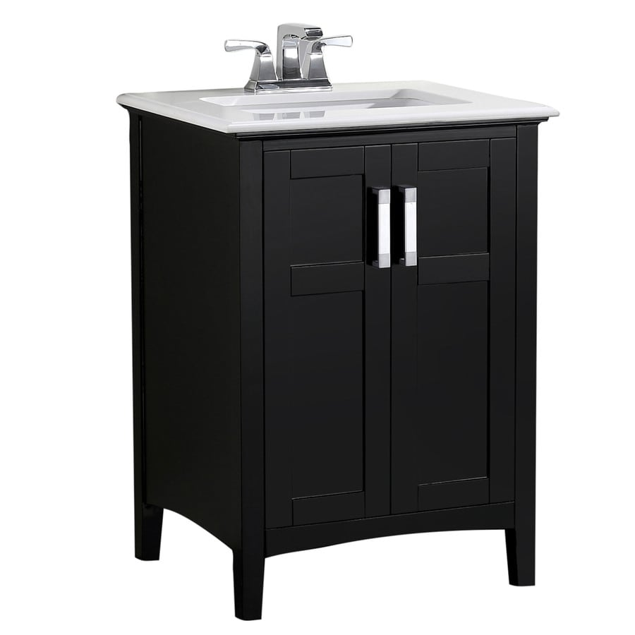 Simpli Home Winston Black Undermount Single Sink Bathroom Vanity with Engineered Stone Top (Common: 24-in x 21.5-in; Actual: 25-in x 21.5-in)