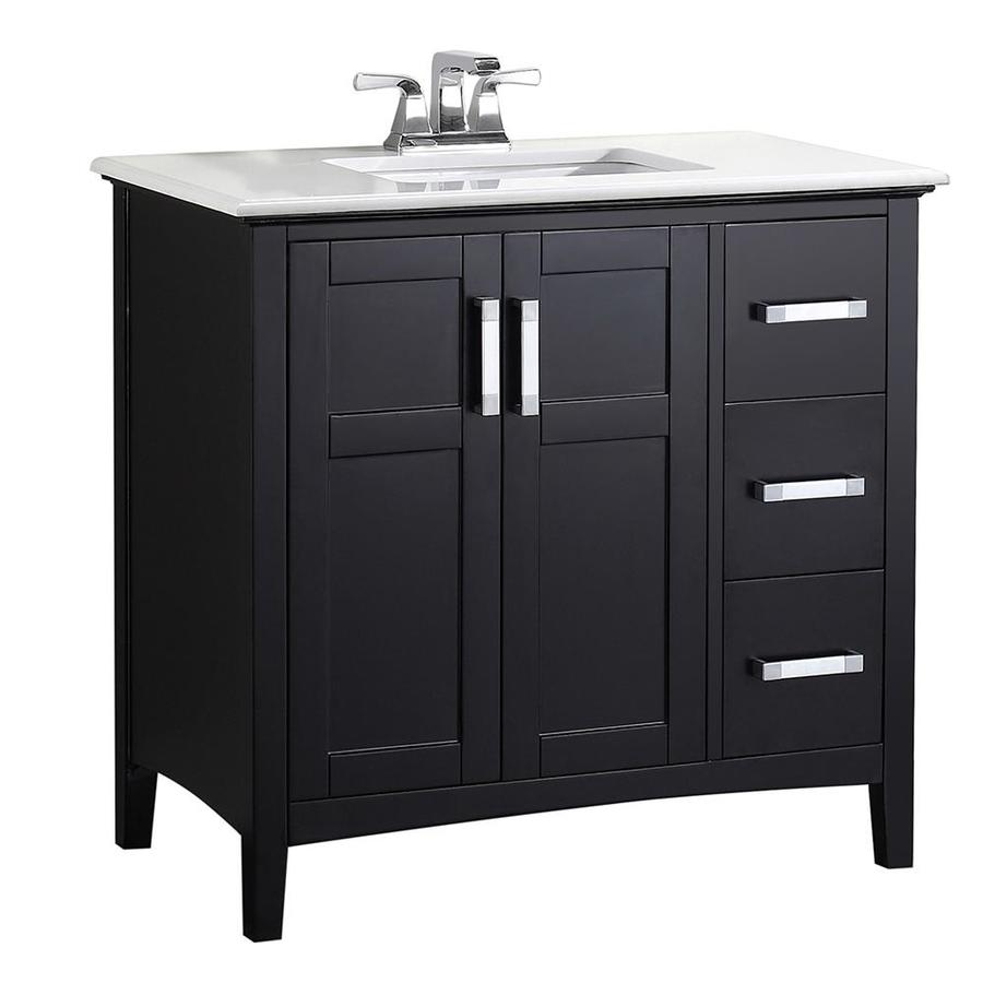 Simpli Home Winston Black (Common: 36-in x 21.5-in) Undermount Single Sink Birch Bathroom Vanity with Engineered Stone Top (Actual: 37-in x 21.5-in)