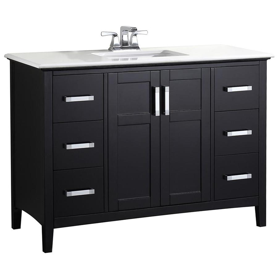 Simpli Home Winston Black Undermount Single Sink Bathroom Vanity with Engineered Stone Top (Common: 48-in x 21.5-in; Actual: 49-in x 21.5-in)