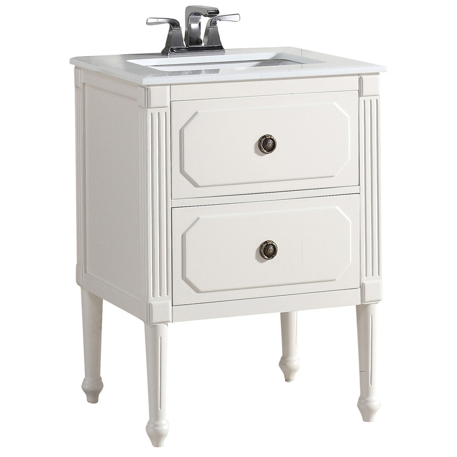 Simpli Home Versaille Soft White 25-in Undermount Single Sink Birch Bathroom Vanity with Engineered Stone Top