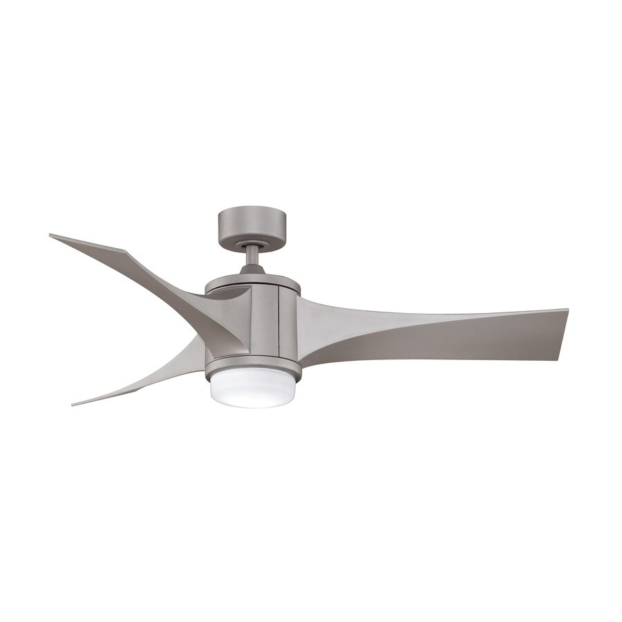 Fanimation Inlet 52-in Satin Nickel Flush Mount Indoor Ceiling Fan with Light Kit and Remote (4-Blade)