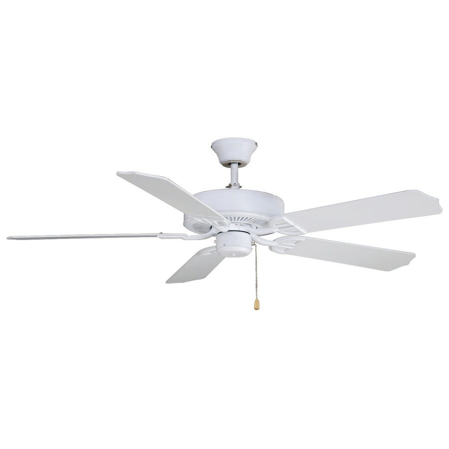 Fanimation Builder Series 52-in Matte White Downrod Mount Indoor/Outdoor Ceiling Fan ENERGY STAR