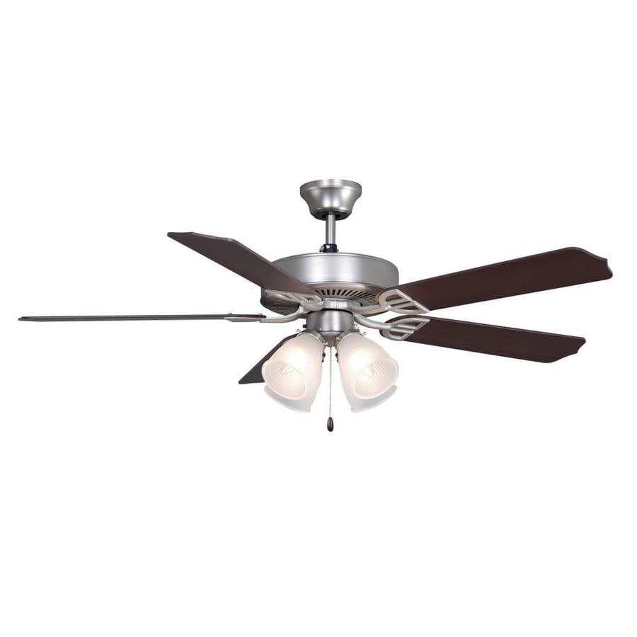 Fanimation Builder series 52-in Satin nickel Indoor Downrod Mount Ceiling Fan with Light Kit