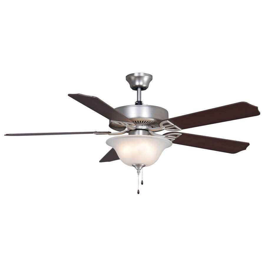 Fanimation Builder Series 52-in Satin Nickel Downrod Mount Indoor Commercial/Residential Ceiling Fan with Light Kit