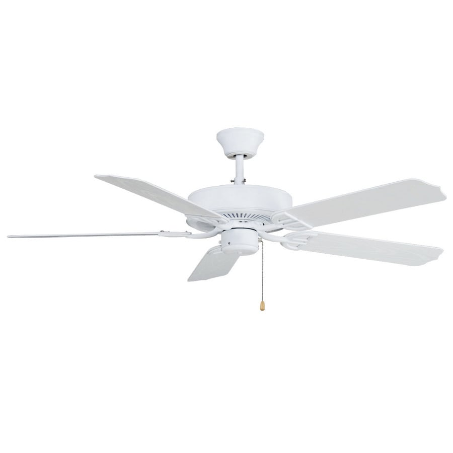 Fanimation Builder Series 52-in Matte White Downrod Mount Indoor/Outdoor Commercial/Residential Ceiling Fan