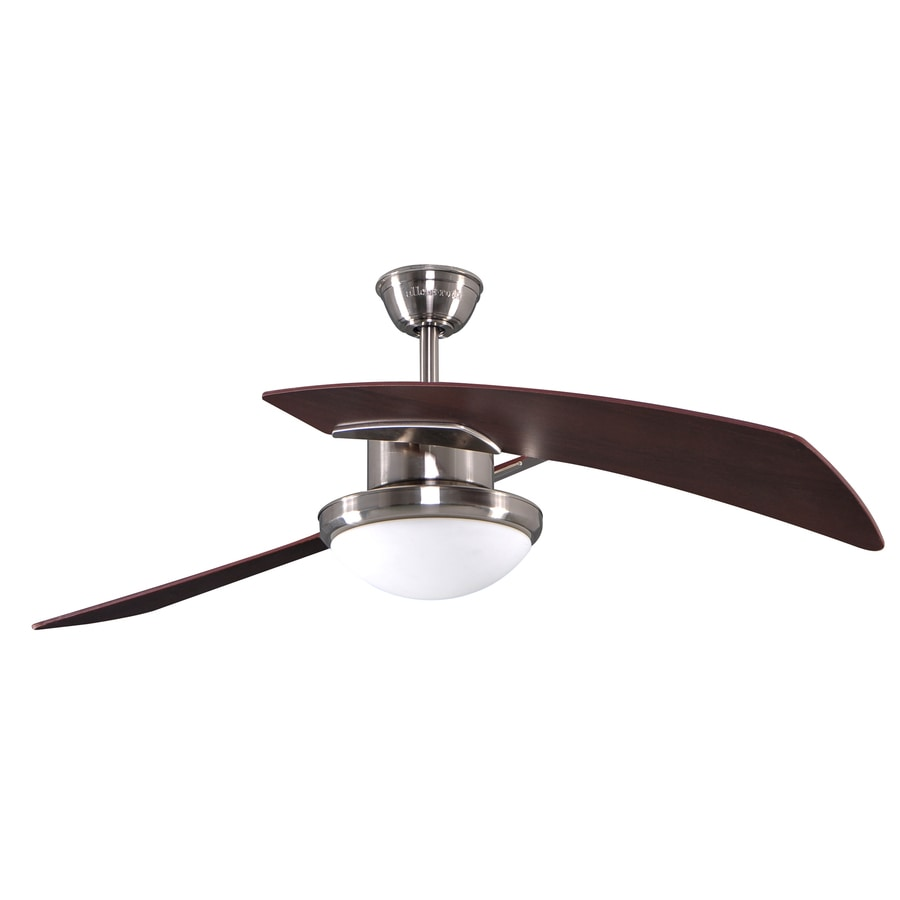allen + roth Santa Ana 48-in Brushed Nickel Downrod Mount Indoor Ceiling Fan with Light Kit and Remote (2-Blade)
