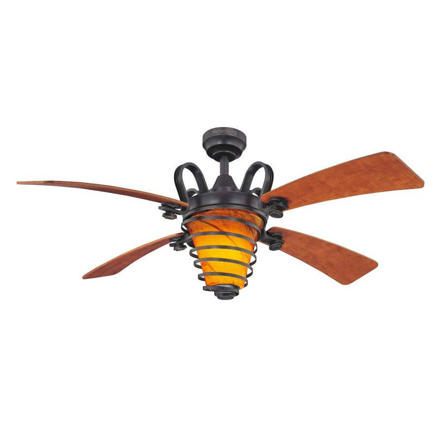 Harbor Breeze Quimby 52-in Aged Bronze Downrod Mount Indoor Ceiling Fan with Light Kit and Remote (4-Blade)