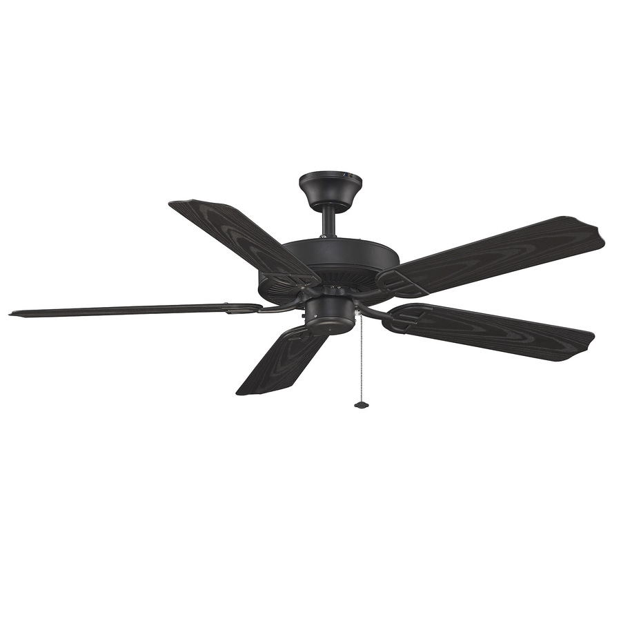 Fanimation Builder Series 52-in Black Downrod Mount Indoor/Outdoor Ceiling Fan ENERGY STAR