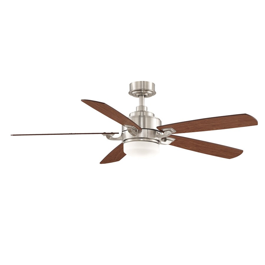 Fanimation Benito 52-in Brushed Nickel Indoor Downrod Mount Ceiling Fan with Light Kit and Remote