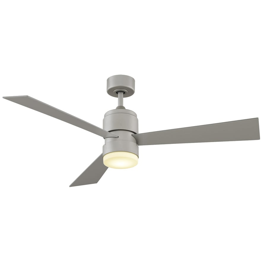 Fanimation Zonix LED 54-in Brushed Nickel Integrated LED Indoor/Outdoor Downrod Mount Ceiling Fan with Light Kit and Remote (3-Blade)