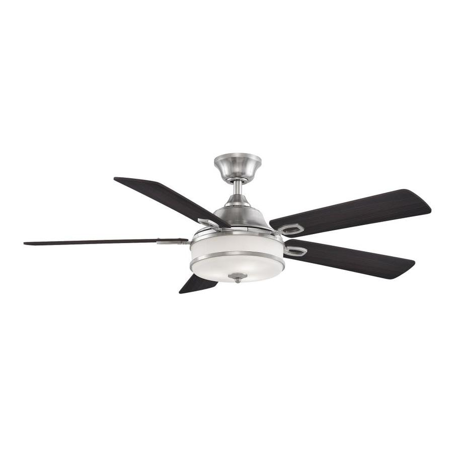 Fanimation Stafford 52-in Brushed Nickel Indoor Downrod Mount Ceiling Fan with Light Kit and Remote