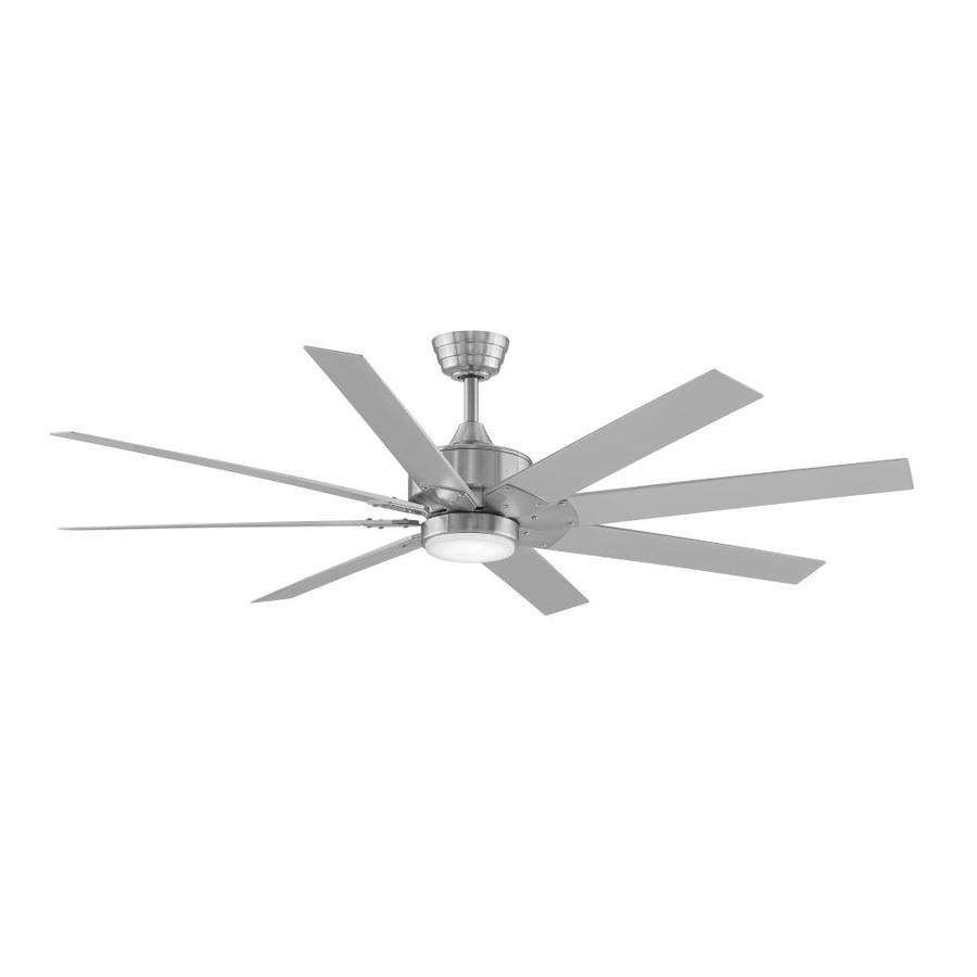 Fanimation Levon DC 63-in Brushed Nickel Integrated LED Indoor/Outdoor Downrod Mount Ceiling Fan with Light Kit and Remote (8-Blade) ENERGY STAR