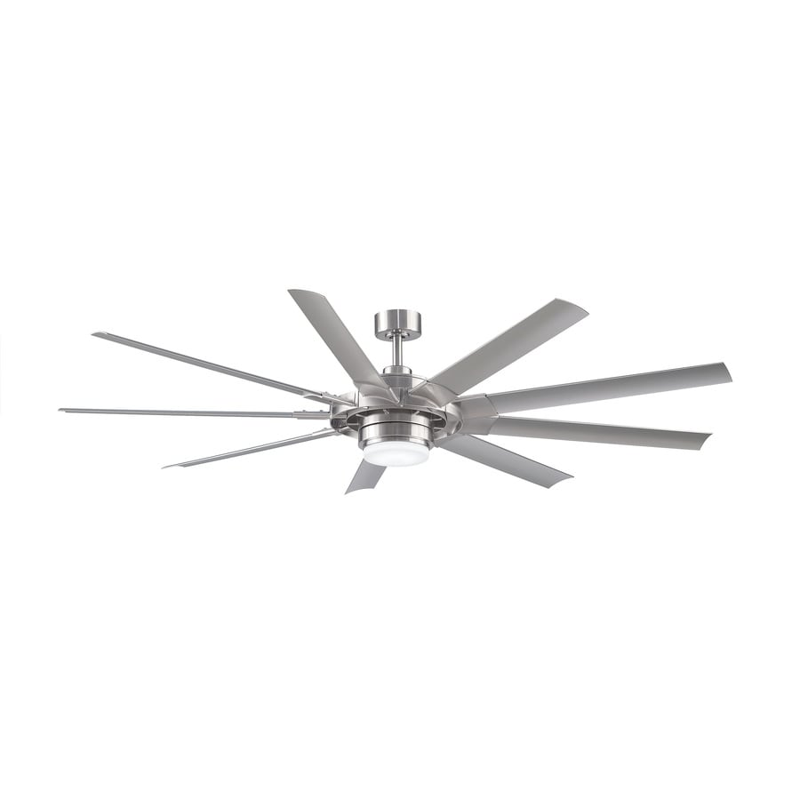 Shop ceiling fans at lowes fanimation studio collection slinger v2 72 in brushed nickel led indooroutdoor downrod mount publicscrutiny