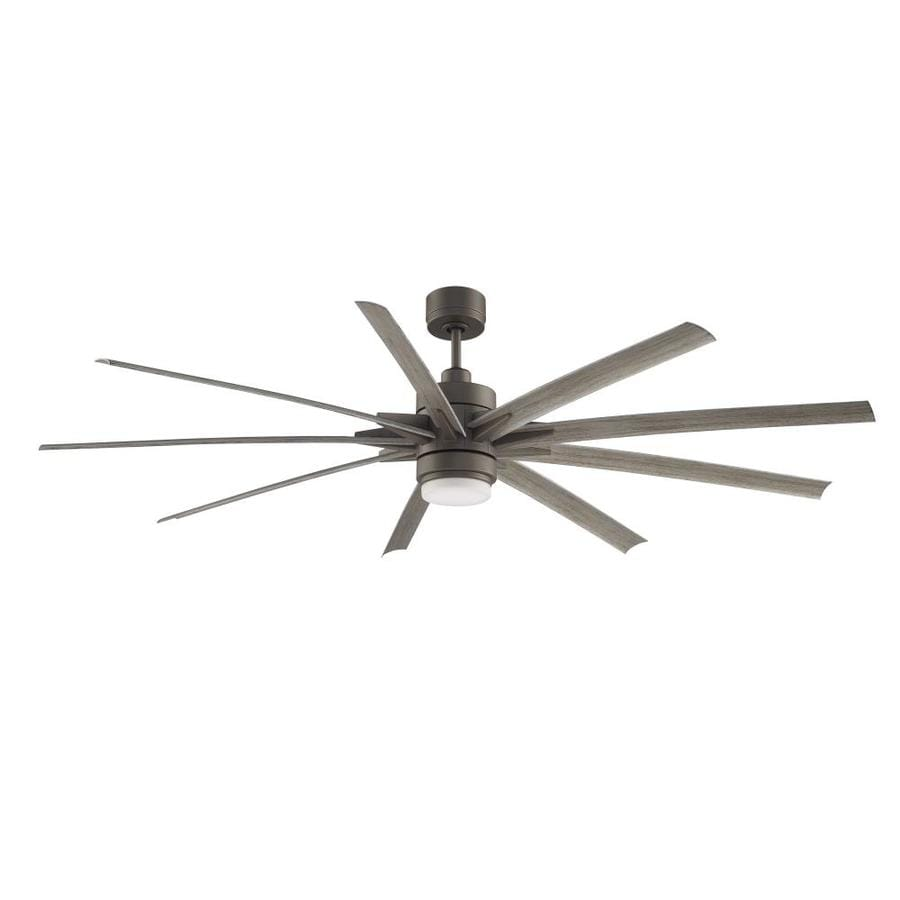 Fanimation Odyn 84-in Matte Greige Integrated LED Indoor/Outdoor Downrod Mount Ceiling Fan with Light Kit and Remote (9-Blade) ENERGY STAR