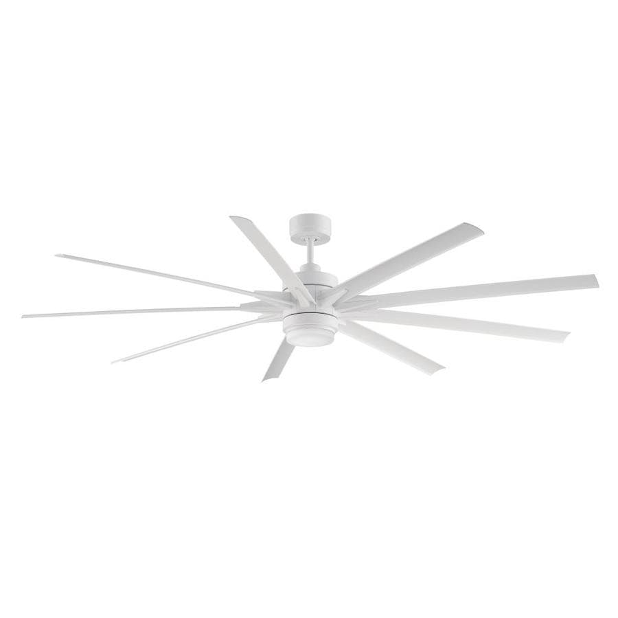 Fanimation Odyn 84-in Matte White Integrated LED Indoor/Outdoor Downrod Mount Ceiling Fan with Light Kit and Remote (9-Blade) ENERGY STAR