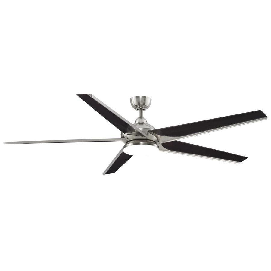 Fanimation Subtle 72-in Brushed Nickel Integrated LED Indoor/Outdoor Downrod Mount Ceiling Fan with Light Kit and Remote ENERGY STAR