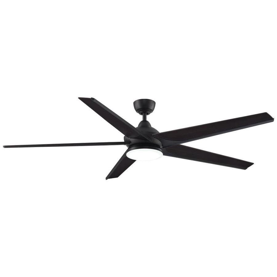 Fanimation Subtle 72-in Dark Bronze Integrated LED Indoor/Outdoor Downrod Mount Ceiling Fan with Light Kit and Remote ENERGY STAR