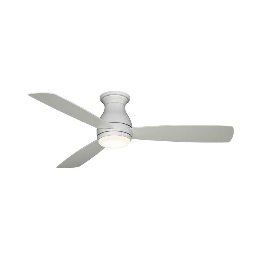 Fanimation Hugh 52 In Matte White Led Indoor Outdoor Flush Mount Ceiling Fan With Light Kit 3 Blade