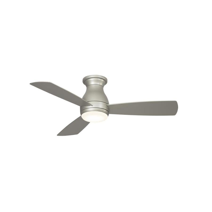 Fanimation Hugh 44-in Brushed Nickel Integrated Led Indoor/Outdoor  Flush Mount Ceiling Fan with Light Kit (3-Blade)